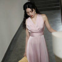 Dress / evening wear coming-of-age ceremony S,M,L,XL Pink other longuette Spring 2021 Deep collar V Bandage Polyester / polyester (polyester) 18-25 years old Sleeveless Solid color routine 31% (inclusive) - 50% (inclusive)