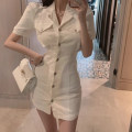 Women's large Korean version puff sleeve Short skirt Summer 2021 commute singleton  Dress Short sleeve M00111 Polo collar Solid color Cardigan moderate 18-24 years old The warbler crows in the spring Stereoscopic cutting Other 100% Pure e-commerce (online sales only) S M L XL Pink White Black