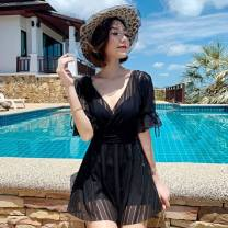 one piece  Other brands With chest pad without steel support polyester fiber female Short sleeve Casual swimsuit Hollowing out