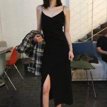 Dress Spring of 2019 black S,M,L,XL longuette singleton  Sleeveless commute V-neck High waist Solid color Socket camisole Other / other Korean version
