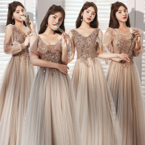 Dress / evening wear Weddings, adulthood parties, company annual meetings, daily appointments S M L XL XXL Korean version longuette middle-waisted Autumn 2020 Self cultivation Sling type Bandage 18-25 years old JX001 Nail bead Simple storage Flying sleeve Polyester 100% Pure e-commerce (online only)