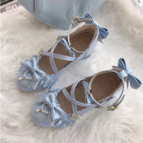 Low top shoes 34,35,36,37,38,39,40,41 Round head Superfine fiber Flat bottom Middle heel (3-5cm) Shallow mouth Superfine fiber Winter of 2019 Flat buckle Sweet Adhesive shoes Youth (18-40 years old) Solid color TPR (tendon) Single shoes Microfiber skin daily Face dressing