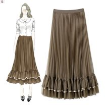skirt Spring 2020 S M L black gray coffee apricot longuette grace Natural waist Cake skirt Solid color More than 95% KEHTD polyester fiber Polyester 100%