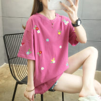 T-shirt M L XL 2XL 3XL Summer 2021 Short sleeve Crew neck easy Regular routine commute cotton 96% and above 18-24 years old Korean version originality Plants and flowers Zhong Xiuqing Embroidery Cotton 100% Pure e-commerce (online only)
