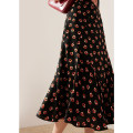 skirt Spring 2021 S M L Flowers on black background Mid length dress commute High waist Ruffle Skirt Broken flowers Type A T21022403MJ 91% (inclusive) - 95% (inclusive) Chiffon Tailor  buddy silk printing Simplicity Silk 95% other 5%