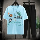 suit Aoyiluo Blue T-shirt black T-shirt white T-shirt blue suit black suit white suit M L XL 2XL 3XL male summer Korean version Short sleeve + pants 2 pieces Thin money No model Socket nothing letter other Learning reward AYL-2021040328 Summer 2021 9, 10, 11, 12, 13, 14 Chinese Mainland