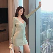 Dress Winter 2020 Green, white Average size Short skirt Long sleeves V-neck middle-waisted routine More than 95% knitting cotton