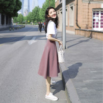 Dress Summer 2020 Top + skirt S M L XL Mid length dress Two piece set Short sleeve commute Crew neck High waist lattice Socket A-line skirt other Others 18-24 years old Type A younger female cousin Korean version Button printing More than 95% other Other 100% Pure e-commerce (online only)