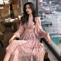 Dress Spring 2020 S M L XL longuette singleton  Long sleeves commute V-neck High waist Decor Socket A-line skirt Princess sleeve Others 18-24 years old Type A Korean version Lotus leaf edge More than 95% Chiffon other Other 100% Pure e-commerce (online only)