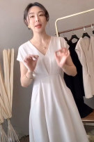 Dress Summer 2021 Cream white classic black XS S M L XL longuette singleton  Short sleeve commute V-neck middle-waisted Solid color A-line skirt routine 25-29 years old Type A younger female cousin More than 95% other Other 100% Pure e-commerce (online only)
