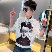 T-shirt Youth fashion Black C170 white C170 white sc02 black sc02 white c156 black c156 white sc03 black sc03 white C172 black C172 routine M L XL 2XL 3XL Heqiu three quarter sleeve Shirt collar easy Other leisure autumn A220-SC02 Polyester 95% polyurethane elastic fiber (spandex) 5% teenagers tide
