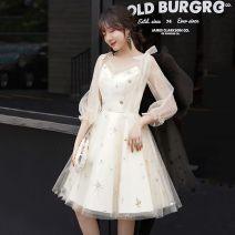 Dress / evening wear wedding XS,S,M,L,XL,2XL,3XL Champagne - RFA, white - 52F, off white - 4s1 Short skirt Skirt hem See description 43A8E507 Nine point sleeve 30% and below