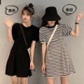 Dress Spring 2021 Striped black Average size Short skirt singleton  Short sleeve commute Crew neck High waist Solid color Socket A-line skirt routine 18-24 years old Manzhiyin Korean version 0526NZEA6xz More than 95% other Other 100.00% Pure e-commerce (online only)