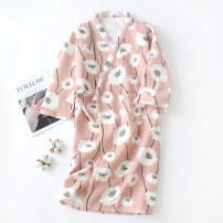 Nightgown / bathrobe Other / other female M, l Pink flower, green flower, pink vertical flower, green vertical flower, pink ripple cat, green ripple cat thickening Simplicity cotton winter Knitted cotton clip Plants and flowers youth