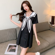 Dress Summer 2021 Black and white S M L XL Short skirt singleton  Short sleeve commute V-neck High waist Solid color Socket A-line skirt routine 18-24 years old Type A Song Qian Korean version Button Z1665 More than 95% Chiffon polyester fiber Polyester 100% Pure e-commerce (online only)