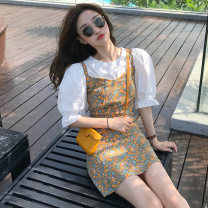 Women's large Spring 2021 White shirt + Decor suspender skirt L XL S M Other oversize styles Two piece set commute Socket Decor Crew neck polyester fiber routine MYD-6056M Manyi Butterfly 18-24 years old Short skirt Other 100% Pure e-commerce (online only)