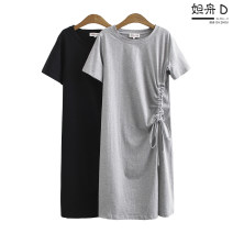 Women's large Summer 2020 Black grey XL 2XL 3XL Dress singleton  commute easy moderate Socket Short sleeve Solid color Korean version Crew neck cotton Three dimensional cutting routine XX390# Da Zhou Three dimensional decoration 96% and above longuette Cotton 100% Pure e-commerce (online only)