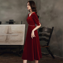 Dress / evening wear Wedding, adult party, company annual meeting, daily appointment XS S M L XL XXL XXXL Long and medium other Medium length middle-waisted Winter 2020 A-line skirt Deep collar V zipper 18-25 years old LF-G12 Nail bead Beijing show New polyester 85% others 15%