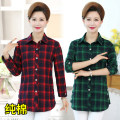 Middle aged and old women's wear Spring of 2019, autumn of 2019 Black and white, red, green, black and white with velvet, red with velvet, green with velvet leisure time shirt easy singleton  lattice 40-49 years old Cardigan moderate Polo collar routine shirt sleeve Button cotton 96% and above