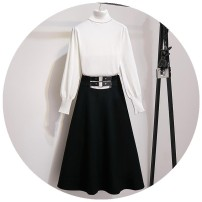 Dress Winter of 2019 White sweater, black sweater, black skirt, black [suit], white [suit] S,M,L,XL longuette Two piece set Long sleeves commute High collar High waist Solid color Socket A-line skirt pagoda sleeve 18-24 years old Type A Korean version e0Qm5uhX 31% (inclusive) - 50% (inclusive)