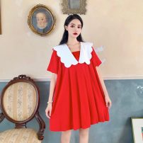 Dress Summer 2020 Red baby dress Average size Short skirt singleton  Short sleeve commute Doll Collar Loose waist Socket A-line skirt routine Others 18-24 years old Type A Be practical Korean version 85Pks More than 95% other Triacetate fiber (triacetate fiber) 100%