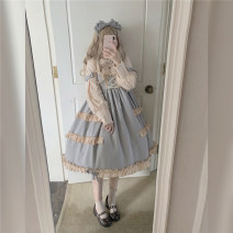 Dress Autumn of 2019 S M L Middle-skirt singleton  Long sleeves Sweet Crew neck middle-waisted Solid color Socket Princess Dress bishop sleeve Others 18-24 years old Type A Nell Button More than 95% other other Other 100% Lolita Pure e-commerce (online only)