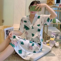Pajamas / housewear set female Other / other S (80-95 Jin), m (96-115 Jin), l (116-130 Jin), XL (131-145 Jin), XXL (146-160 Jin) cotton Short sleeve Sweet pajamas Thin money V-neck Plants and flowers Tether youth one-piece garment Knitted cotton fabric printing Middle-skirt