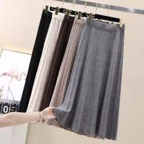 skirt Autumn of 2019 Average size Black, grey, apricot, khaki, coffee Mid length dress commute High waist A-line skirt Solid color Type A 71% (inclusive) - 80% (inclusive) knitting other Korean version
