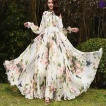 Dress Summer 2020 Green leaf ink painting Skirt length: 115cm (recommended height: 150-155), 135cm (recommended height: 171 or above), 120cm (recommended height: 156-160), 125cm (recommended height: 161-165), 130cm (recommended height: 166-170) longuette singleton  Long sleeves commute Crew neck