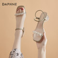 Sandals 35 36 37 38 39 40 Off white [spot] green [spot] PU Daphne / Daphne Barefoot Thick heel Middle heel (3-5cm) Summer 2021 Trochanter Korean version Solid color Adhesive shoes Youth (18-40 years old) rubber daily Back space Diamond and Pearl Low Gang Hollow PU PU 202103222bn Fashion sandals