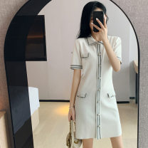 Dress Summer 2021 white S M L XL Mid length dress singleton  Short sleeve Sweet Polo collar middle-waisted Solid color Socket other routine Others 18-24 years old Yimengzi (clothing) 201010E38 More than 95% other Other 100% princess Pure e-commerce (online only)