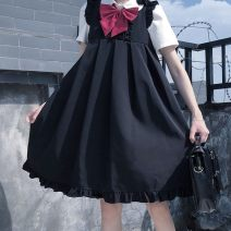 Dress Autumn 2020 Black, blue S,M,L Middle-skirt singleton  Sleeveless Lotus leaf, agaric, solid color 30% and below