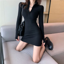 Dress Winter 2020 Black dark grey S M L Short skirt singleton  Long sleeves commute V-neck High waist Solid color Socket One pace skirt routine 18-24 years old Type H Ruomi Korean version AH7472# More than 95% knitting other Other 100%