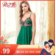 Nightdress Yizhini Big red, emerald green 160(M),165(L) sexy camisole Leisure home Plants and flowers youth nylon Embroidery 61% (inclusive) - 80% (inclusive) 422J