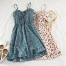 Dress Spring of 2019 Blue, yellow, apricot, white, black small broken flower, black big broken flower, Tibetan blue, embroidered red, pink Average size Short skirt singleton  Sleeveless commute other Elastic waist Decor Socket A-line skirt other camisole 18-24 years old Type A Other / other Chiffon