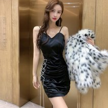 Dress Spring 2021 Black, base M, L Short skirt singleton  Sleeveless commute V-neck High waist Solid color Socket A-line skirt routine camisole 18-24 years old Type A Korean version backless 51% (inclusive) - 70% (inclusive) polyester fiber