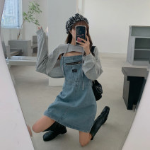 Dress Spring 2021 Top, denim skirt S. M, average size Mid length dress singleton  Long sleeves commute Crew neck Loose waist Solid color Socket A-line skirt routine 18-24 years old Type A Korean version mai0301 71% (inclusive) - 80% (inclusive) other cotton