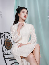 cheongsam Spring 2021 S M L XL Picture color Long sleeves long cheongsam Retro Low slit daily Oblique lapel Solid color 25-35 years old Piping Yu Lin Lang Old lady polyester fiber Polyester 100% Same model in shopping mall (sold online and offline) 96% and above