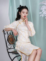 cheongsam Spring 2021 S M L XL Picture color Long sleeves Short cheongsam Retro Low slit daily Oblique lapel Decor 25-35 years old Piping Old lady polyester fiber Polyester 100% 96% and above