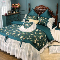 Bedding Set / four piece set / multi piece set cotton Embroidery Plants and flowers 200x95 Other / other cotton 4 pieces 60 1.5m (5 feet) bed, 1.8m (6 feet) bed, 1.8m bed 220 * 240cm quilt cover, 2.0m bed 220 * 240cm quilt cover Qualified products 100% long-staple cotton satin-like cotton fabric