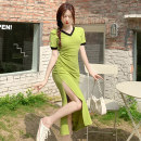 Dress longuette Short sleeve V-neck High waist Solid color Condom routine 18-24 years old Type A Xiao Feng Simplicity XF-0512-596 Other 100% Summer 2021 singleton  commute One pace skirt other More than 95% One size fits all