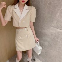 Lace / Chiffon Summer 2021 Apricot top black top apricot skirt black skirt S M Short sleeve commute Cardigan Two piece set Self cultivation have cash less than that is registered in the accounts tailored collar Solid color routine 18-24 years old Sonryton 1794# Korean version Other 100%