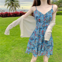 Lace / Chiffon Spring 2021 Floral suspender skirt white cardigan S M L Long sleeves commute Cardigan Two piece set Self cultivation Regular V-neck Decor routine 18-24 years old Sonryton Korean version 31% (inclusive) - 50% (inclusive) Triacetate fiber (triacetate fiber) 100%