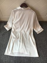 Nightdress Other / other White, black, blue 165(L),170(XL) sexy Middle sleeve pajamas Middle-skirt summer Solid color youth Shirt collar Button decoration