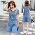 Jeans Summer 2020 Blue strap shorts + black and white stripe Short Sleeve T-Shirt Blue strap shorts + White Short Sleeve T-Shirt Blue strap shorts S M L XL 2XL shorts High waist rompers routine Wash embroidery, white flanging pattern, multi pocket, others light colour D8764520S0756 Weiai Zi