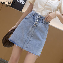 skirt Summer 2020 S M L XL 2XL wathet Short skirt Versatile High waist Denim skirt Solid color Type A G220T1F16594 More than 95% Weiai Zi other Pocket button Other 100%