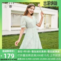 Dress Summer 2020 Light green 175/96A/XXL,165/88A/L,155/80A/S,170/92A/XL,160/84A/M Mid length dress singleton  Short sleeve commute V-neck High waist Socket A-line skirt pagoda sleeve 25-29 years old Type X Tricolor lady printing D025838L20 More than 95% polyester fiber