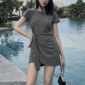 Dress Summer 2020 Black grey M L XL 2XL Mid length dress singleton  Short sleeve commute Crew neck High waist Solid color Socket Irregular skirt routine Hanging neck style 18-24 years old Type A Korean version Bandage 30% and below cotton Same model in shopping mall (sold online and offline)