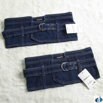 Belt / belt / chain Denim Dark blue m, dark blue l Waistband cowboy Single loop Double buckle soft surface alloy