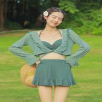 Split swimsuit Shikaidi green M,L,XL Skirt split swimsuit Steel strap breast pad Nylon, spandex, others female V-neck